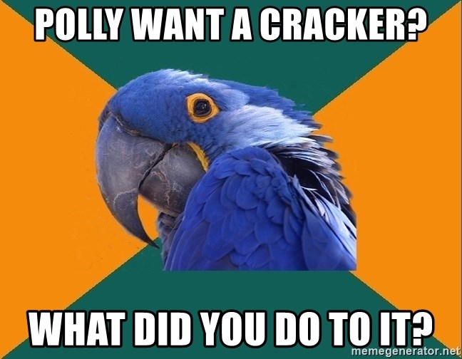 Paranoid Parrot - polly want a cracker? What did you do to it?