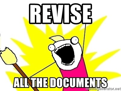 X ALL THE THINGS - revise all the documents