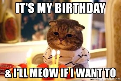Birthday Cat - It's my birthday & I'll Meow if I want to