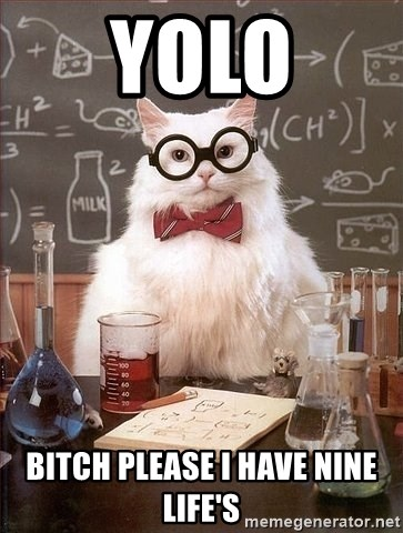 Chemist cat - YOLO BITCH PLEASE I HAVE NINE LIFE'S