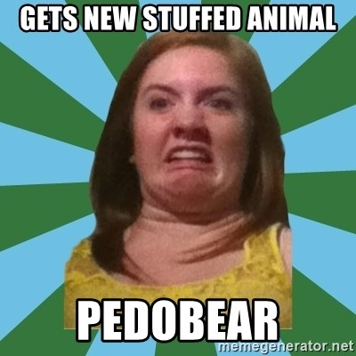 Disgusted Ginger - gets new stuffed animal pedobear