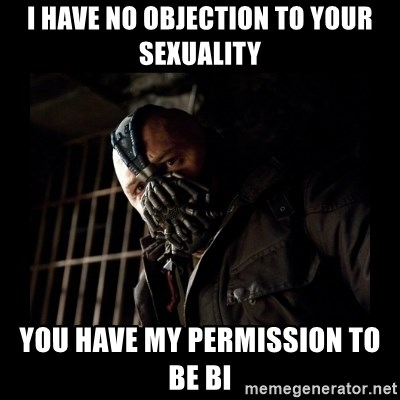 Bane Meme   I Have No Objection To Your Sexuality You Have My Permission To  Be