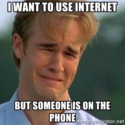Crying Dawson - I want to use internet but someone is on the phone