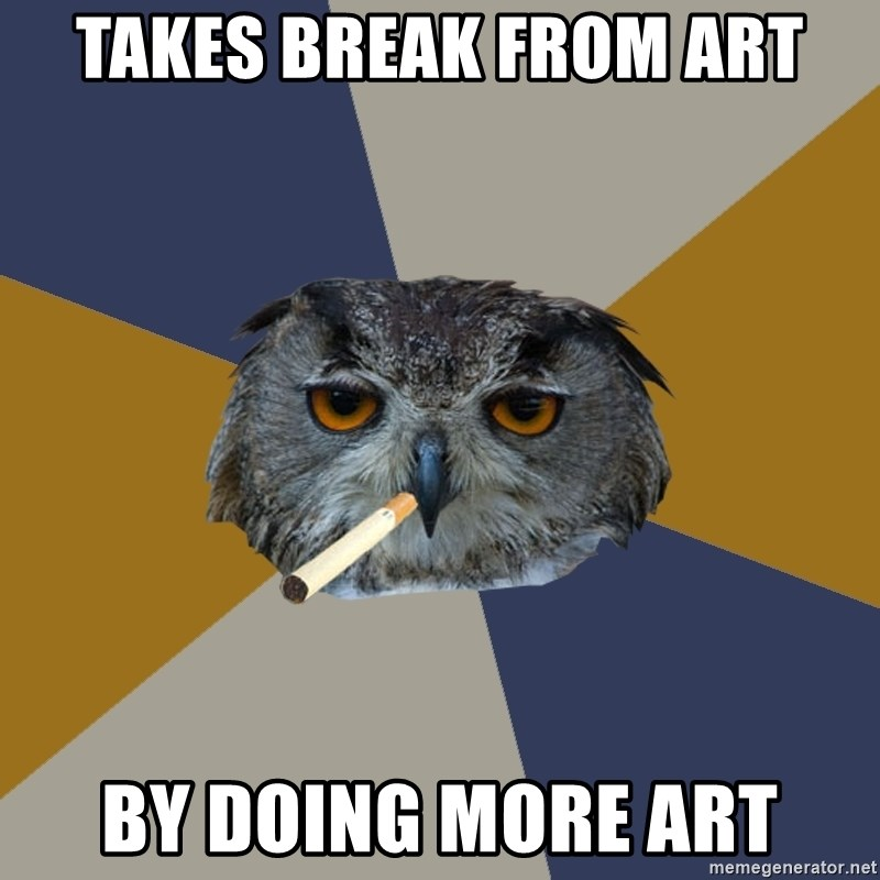 Art Student Owl - Takes break from art By doing more art
