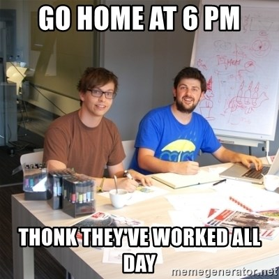 Naive Junior Creatives - Go home at 6 pm thonk they've worked all day