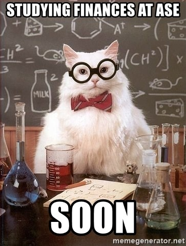 Chemist cat - Studying finances at ase SOON