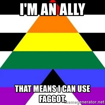 Bad Straight Ally - I'm an ally That means I can use faggot.