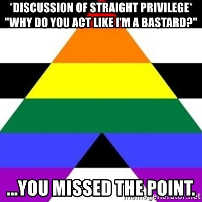 """Bad Straight Ally - *discussion of straight privilege* """"why do you act like I'm a bastard?"""" ...You missed the point."""