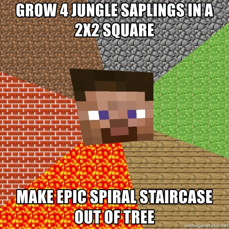 Grow 4 Jungle Saplings In A 2x2 Square Make Epic Spiral Staircase