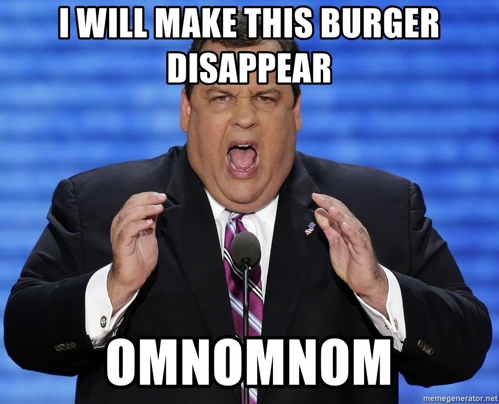 Hungry Chris Christie - I will make this burger disappear OMNOMNOM