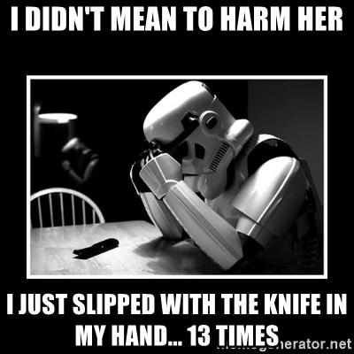 Sad Trooper - I Didn't mean to harm her i just slipped with the knife in my hand... 13 times