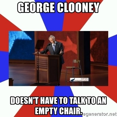Invisible Obama - GEORGE CLOONEY DOESN'T HAVE TO TALK TO AN EMPTY CHAIR.