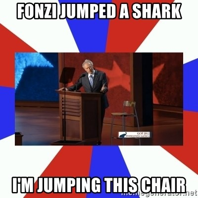 Invisible Obama - Fonzi jumped a shark I'm jumping this chair