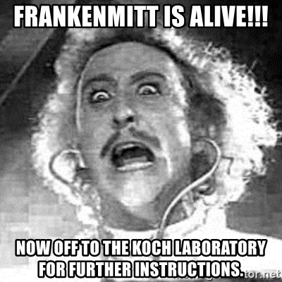Frankenstein  - FRANKENMITT is alive!!! now off to the koch laboratory for further instructions.