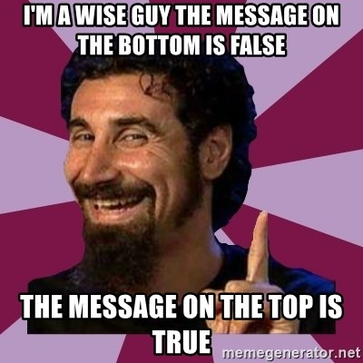 Serj Tankian - I'M A WISE GUY THE MESSAGE ON THE BOTTOM IS FALSE THE MESSAGE ON THE TOP IS TRUE