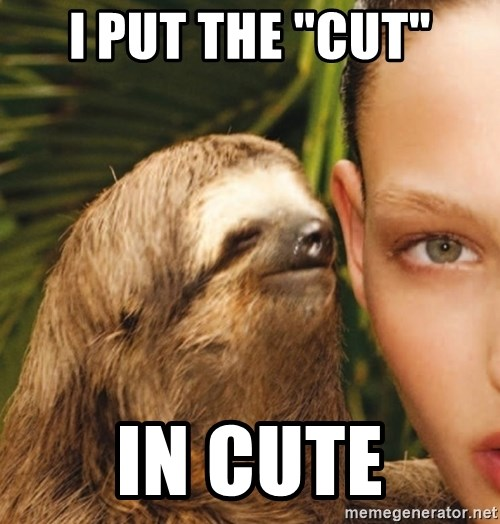 "The Rape Sloth - I put the ""CUT"" in cute"
