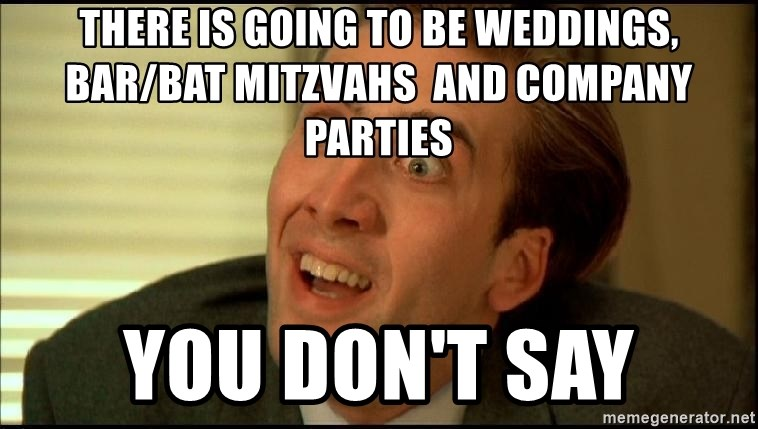 You Don't Say Nicholas Cage - There is going to be Weddings, bar/Bat Mitzvahs  and company parties You don't Say