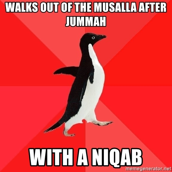 Walks Out Of The Musalla After Jummah With A Niqab
