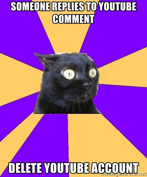 Anxiety Cat - someone replies to youtube comment delete youtube account