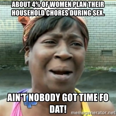 Ain't Nobody got time fo that - About 4% of women plan their household chores during sex. AIN'T NOBODY GOT TIME FO DAT!