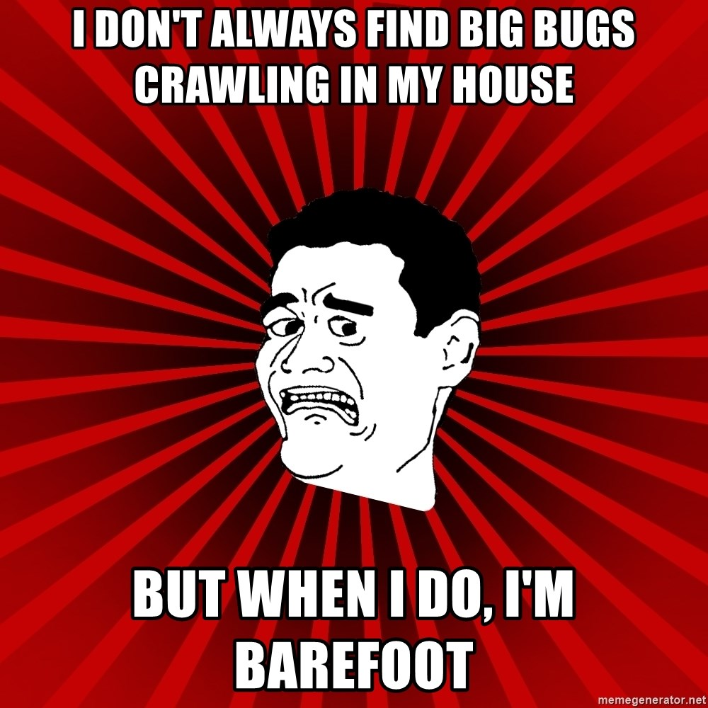 Afraid Yao Ming trollface - I don't always find big bugs crawling in my house but when i do, i'm barefoot