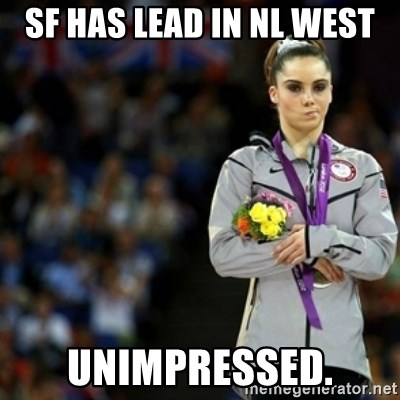 unimpressed McKayla Maroney 2 - SF has lead in NL west unimpressed.
