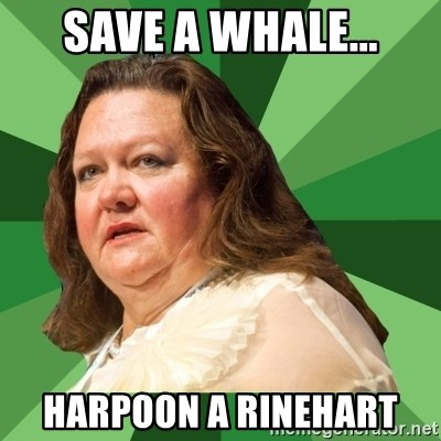 Dumb Whore Gina Rinehart - Save a Whale... Harpoon a rinehart