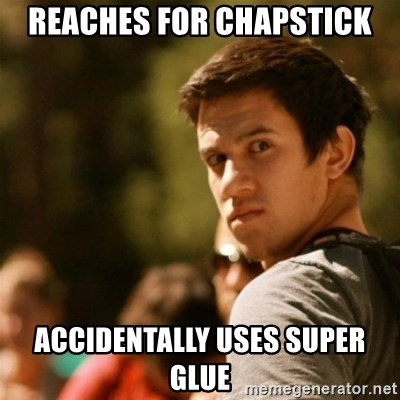 reaches for chapstick accidentally uses super glue - Disturbed David