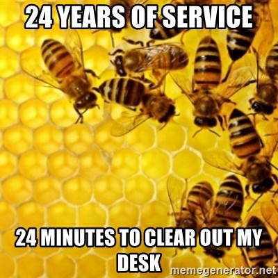 Honeybees - 24 years of service 24 minutes to clear out my desk