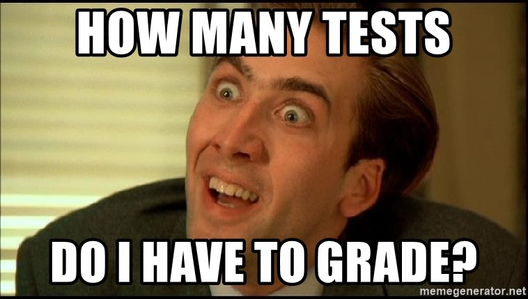 You Don't Say Nicholas Cage - How many tests Do I have to grade?