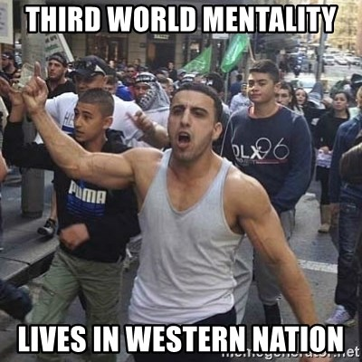 Western Muslim Protestor - third world mentality lives in western nation