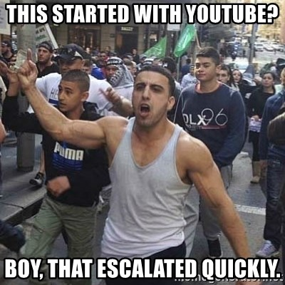 Western Muslim Protestor - this started with youtube? boy, that escalated quickly.