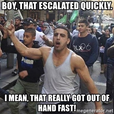 Western Muslim Protestor - Boy, that escalated quickly. I mean, that really got out of hand fast!