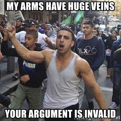 Western Muslim Protestor - my arms have huge veins your argument is invalid