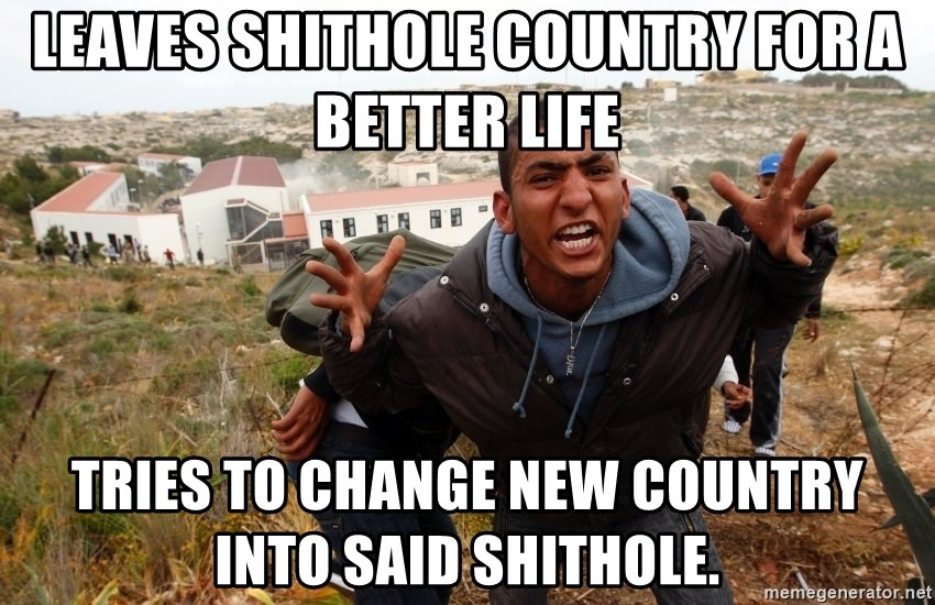 muslim immigrant - LEAVES SHITHOLE COUNTRY FOR A BETTER LIFE Tries to change new country into said Shithole.