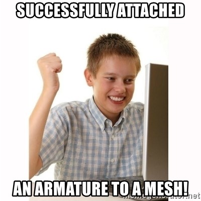 Computer kid - successfully attached an armature to a mesh!