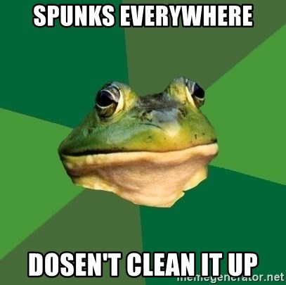 Foul Bachelor Frog - spunks everywhere dosen't clean it up