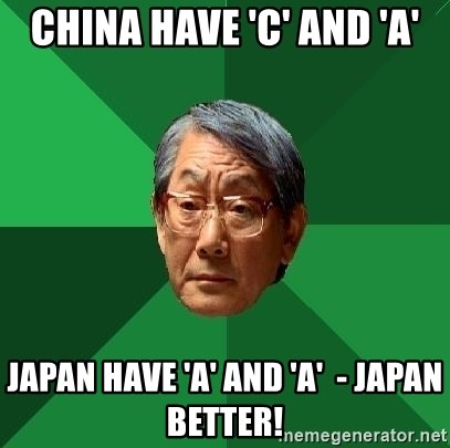 High Expectations Asian Father - china have 'c' and 'a' japan have 'a' and 'a'  - japan better!
