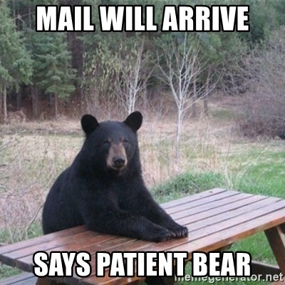 Patient Bear - mail will arrive says patient bear