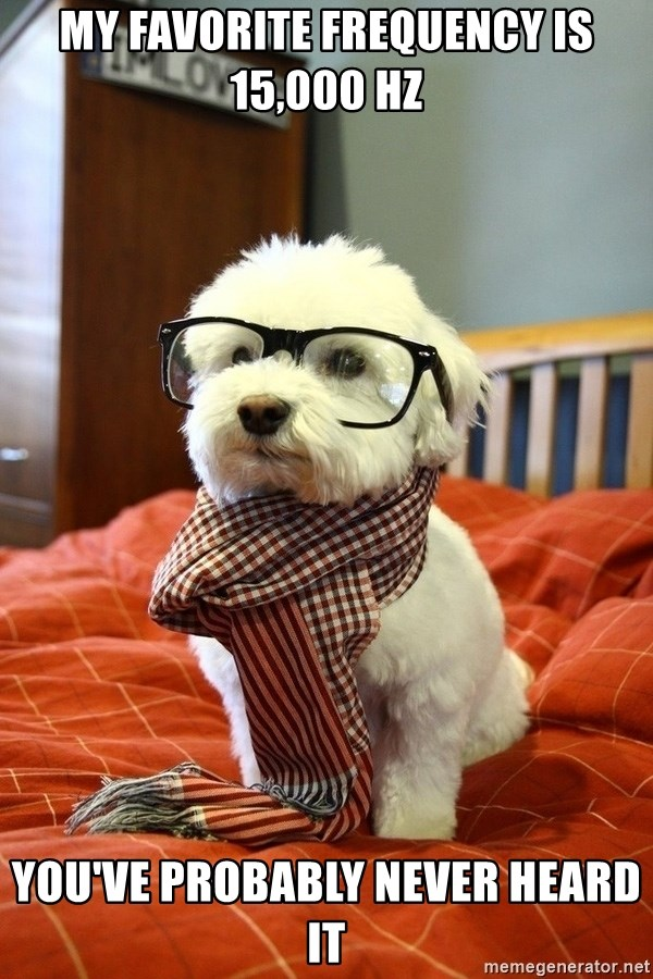 hipster dog - My favorite frequency is 15,000 hz You've probably never heard it