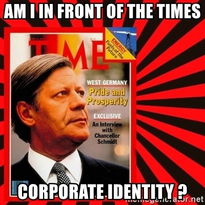 Helmut looking at top right image corner. - AM I IN FRONT OF THE TIMES CORPORATE IDENTITY ?