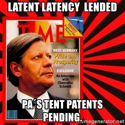 Helmut looking at top right image corner. - Latent Latency  LENDED PA´s TENT PATENTS PENDING.