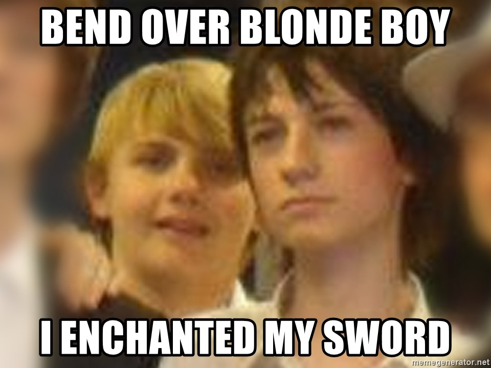 Thoughtful Child - bend over blonde boy i enchanted my sword