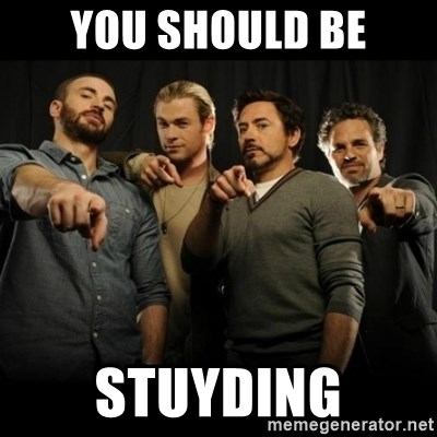 avengers pointing - you should be stuyding