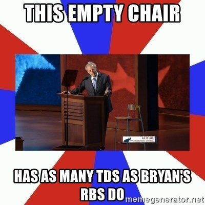 Invisible Obama - this empty chair has as many tds as bryan's rbs do