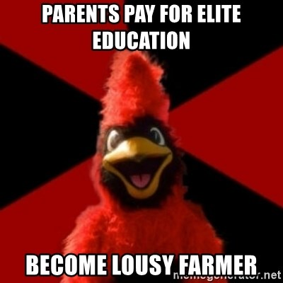 Wesleyan Cardinal - Parents Pay for Elite Education Become lousy farmer