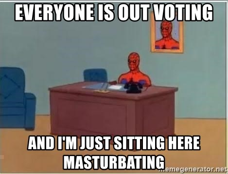 Spiderman Desk - Everyone is out voting and I'm just sitting here masturbating