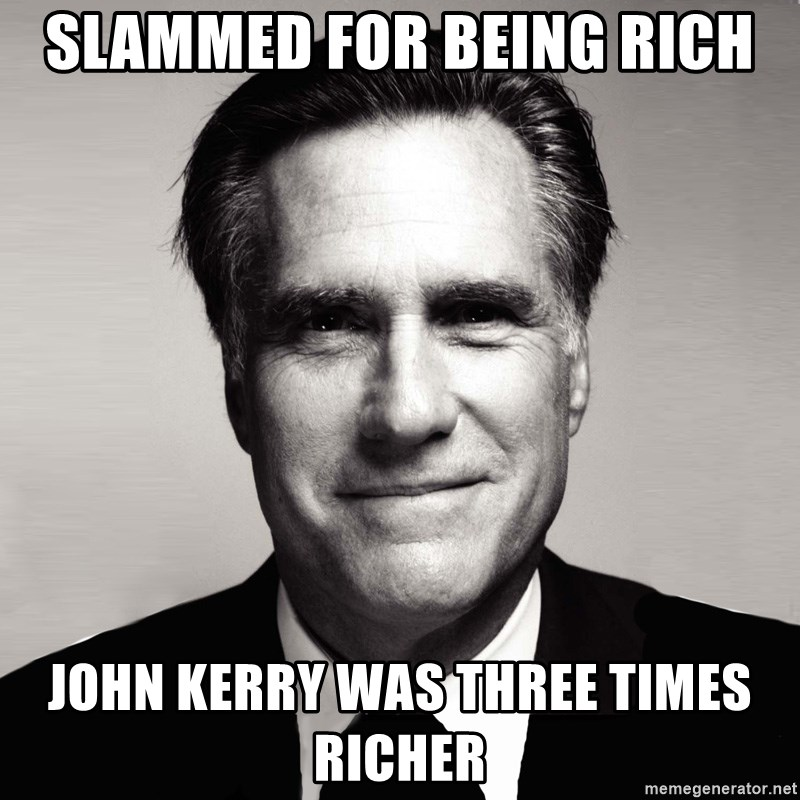 RomneyMakes.com - slammed for being rich john kerry was three times richer