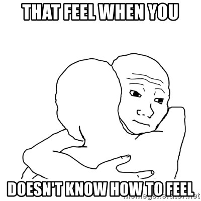 I know that feel bro blank - that feel when you doesn't know how to feel