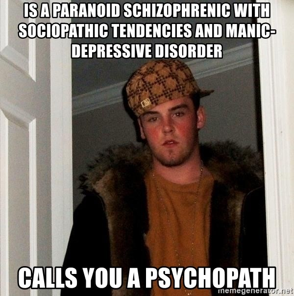 27672975 is a paranoid schizophrenic with sociopathic tendencies and manic